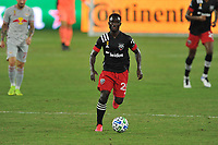 WASHINGTON, DC - SEPTEMBER 12: Mohammed Abu #25 of D.C. United moves the ball during a game between New York Red Bulls and D.C. United at Audi Field on September 12, 2020 in Washington, DC.
