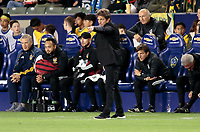 CARSON, CA - MARCH 07: Guillermo Barros head coach of the Los Angeles Galaxy during a game between Vancouver Whitecaps and Los Angeles Galaxy at Dignity Health Sports Park on March 07, 2020 in Carson, California.