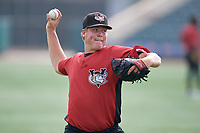 Tri-City ValleyCats pitcher Peyton Battenfield (43) during warmups before a NY-Penn League game against the Brooklyn Cyclones on August 17, 2019 at MCU Park in Brooklyn, New York.  The game was postponed due to inclement weather, Brooklyn defeated Tri-City 2-1 in the continuation of the game on August 18th.  (Mike Janes/Four Seam Images)