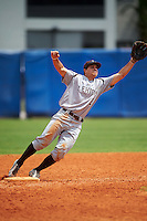 Lehigh Mountain Hawks second baseman Mike Garzillo (2) stretches for a throw during a game against the Dartmouth Big Green on March 20, 2016 at Chain of Lakes Stadium in Winter Haven, Florida.  Dartmouth defeated Lehigh 5-4.  (Mike Janes/Four Seam Images)