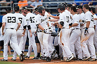 Ben Breazeale (39) of the Wake Forest Demon Deacons celebrates after hitting a game winning 2-run home run in the bottom of the 11th inning against the Florida Gators in the completion of Game Two of the Gainesville Super Regional of the 2017 College World Series at Alfred McKethan Stadium at Perry Field on June 12, 2017 in Gainesville, Florida.  The Demon Deacons walked off the Gators 8-6 in 11 innings. (Brian Westerholt/Four Seam Images)