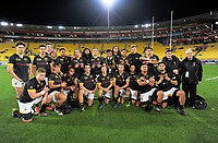 The Wellington College team poses for a group photo after the Transit Coachlines 1st XV Tournament rugby match between Wellington College and Palmerston North Boys' High School at Westpac Stadium in Wellington, New Zealand on Saturday, 20 May 2017. Photo: Dave Lintott / lintottphoto.co.nz