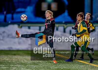 13 November 2019: University of Hartford Hawk Forward Rasmus Karlsson, a Junior from Lerum, Sweden, in action against the University of Vermont Catamounts at Virtue Field in Burlington, Vermont. The Hawks defeated the Catamounts 3-2 in sudden death overtime of the Division 1 Men's Soccer America East matchup. Mandatory Credit: Ed Wolfstein Photo *** RAW (NEF) Image File Available ***