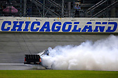 #16: Brett Moffitt, Hattori Racing Enterprises, Toyota Tundra celebrates his win with a burnout
