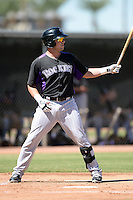 Colorado Rockies first baseman Kyle Parker (3) during an instructional league game against the Los Angels Angels of Anaheim on September 30, 2013 at Tempe Diablo Stadium Complex in Tempe, Arizona.  (Mike Janes/Four Seam Images)
