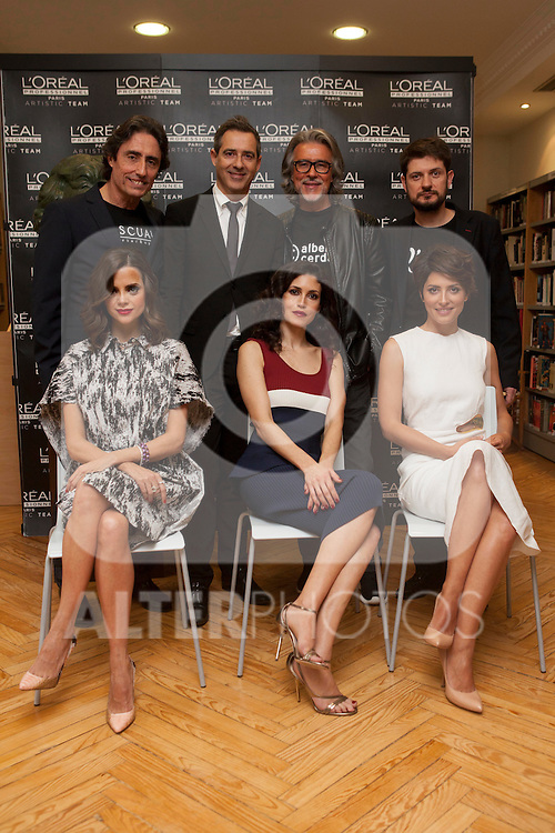 Pascual Cerdan, Jordi Trilles, Alberto Segura, Iban Barreda and Spanish actress Macarena Gomez, Nerea Barros and Barbara Lennie pose for photographers during a presentation for a sponsor of the Goya Awards with hairdressers and Makeup artist at Academia de Cinema in Madrid January 14, 2015, Spain. (ALTERPHOTOS / Nacho Lopez)