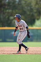 Detroit Tigers shortstop Wenceel Perez (80) leads off during a Florida Instructional League game against the Pittsburgh Pirates on October 2, 2018 at the Pirate City in Bradenton, Florida.  (Mike Janes/Four Seam Images)