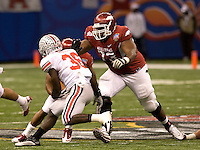 Ray Dominquez of Arkansas in action against Ohio State during 77th Annual Allstate Sugar Bowl Classic at Louisiana Superdome in New Orleans, Louisiana on January 4th, 2011.  Ohio State defeated Arkansas, 31-26.
