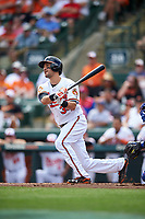 Baltimore Orioles shortstop Paul Janish (34) at bat during a Spring Training exhibition game against the Dominican Republic on March 7, 2017 at Ed Smith Stadium in Sarasota, Florida.  Baltimore defeated the Dominican Republic 5-4.  (Mike Janes/Four Seam Images)