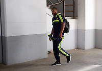 Valencia, Spain. Thursday 19 September 2013<br /> Pictured: Ashley Williams arriving at the Estadio Mestalla. <br /> Re: UEFA Europa League game against Valencia C.F v Swansea City FC, at the Estadio Mestalla, Spain,