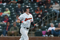 Oregon State Beavers left fielder Joe Casey (6) jogs towards the dugout after scoring a run during a game against the New Mexico Lobos on February 15, 2019 at Surprise Stadium in Surprise, Arizona. Oregon State defeated New Mexico 6-5. (Zachary Lucy/Four Seam Images)