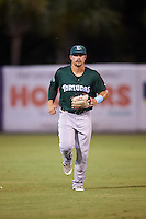 Daytona Tortugas center fielder Brian O'Grady (12) jogs to the dugout during a game against the Tampa Yankees on August 5, 2016 at George M. Steinbrenner Field in Tampa, Florida.  Tampa defeated Daytona 7-1.  (Mike Janes/Four Seam Images)