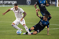 SAN JOSE, CA - SEPTEMBER 05: Andre Shinyashiki #99 is tackled by Paul Marie #33 during a game between Colorado Rapids and San Jose Earthquakes at Earthquakes Stadium on September 05, 2020 in San Jose, California.