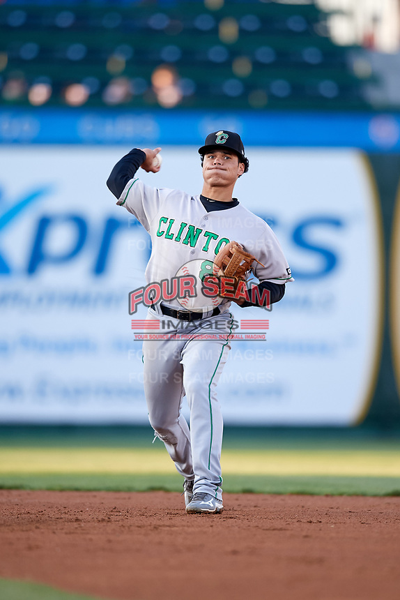 Clinton LumberKings second baseman Bryson Brigman (8) throws to first base during a game against the South Bend Cubs on May 5, 2017 at Four Winds Field in South Bend, Indiana.  South Bend defeated Clinton 7-6 in nineteen innings.  (Mike Janes/Four Seam Images)