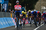 Dutch Champion Mathieu Van Der Poel (NED) Alpecin Fenix easily wins Stage 3 of Tirreno-Adriatico Eolo 2021, running 219km from Monticiano to Gualdo Tadino, Italy. 12th March 2021. <br /> Photo: LaPresse/Marco Alpozzi | Cyclefile<br /> <br /> All photos usage must carry mandatory copyright credit (© Cyclefile | LaPresse/Marco Alpozzi)