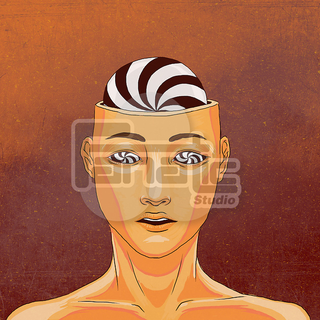 Illustrative image of man with striped eyes and brain representing psychedelic