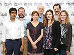 Eshan Bay, director Peter DuBois, playwright Gina Gionfriddo, Frank Wood, Amber Tamblyn, Darren Pettie, and Ella Dershowitz attends the photo call for The Vineyard Theatre production of 'Can You Forgive Her' at the New 42nd Street Studios on April 3, 2017 in New York City.
