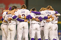 LSU Tigers team huddle before the NCAA baseball game against the Houston Cougars on March 6, 2015 at Minute Maid Park in Houston, Texas. LSU defeated Houston 4-2. (Andrew Woolley/Four Seam Images)