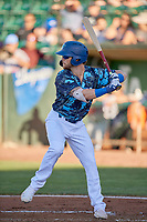 Andrew Shaps (14) of the Ogden Raptors at bat against the Rocky Mountain Vibes at Lindquist Field on July 19, 2019 in Ogden, Utah. The Raptors defeated the Vibes 9-5. (Stephen Smith/Four Seam Images)
