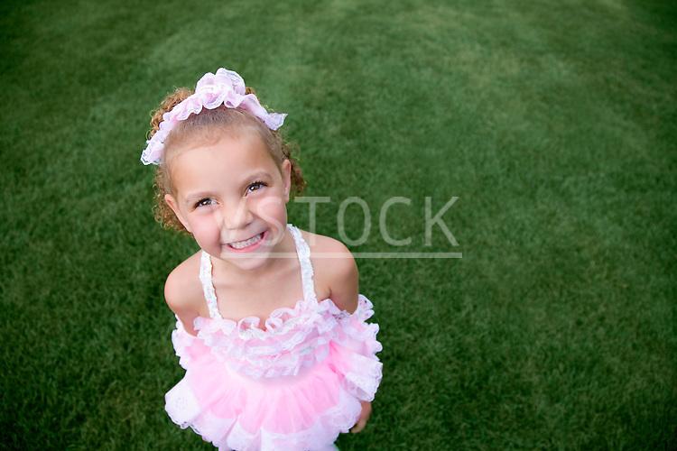 USA, Illinois, Metamora, Portrait of girl (6-7) in Hallloween costume
