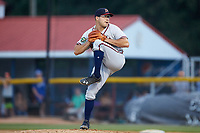Danville Braves relief pitcher Greg Leban (45) in action against the Burlington Royals at Burlington Athletic Stadium on July 13, 2019 in Burlington, North Carolina. The Royals defeated the Braves 5-2. (Brian Westerholt/Four Seam Images)