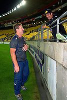 Reds' staffer Brad Thorn chats with a fan before the Super Rugby match between the Hurricanes and Reds at Westpac Stadium, Wellington, New Zealand on Saturday, 14 May 2016. Photo: Dave Lintott / lintottphoto.co.nz