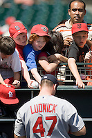 13 April 2008: #47 Ryan Ludwick of the Cardinals signs autographs prior to the San Francisco Giants 7-4 victory over the St. Louis Cardinals at the AT&T Park in San Francisco, CA.