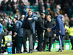 Celtic v St Johnstone…18.02.18…   Celtic Park    SPFL<br />Tommy Wright punches the air at full time after seeing his team hold out for a draw<br />Picture by Graeme Hart. <br />Copyright Perthshire Picture Agency<br />Tel: 01738 623350  Mobile: 07990 594431