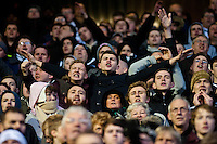 Saturday 25 January 2014<br /> Pictured: Swansea City Fans<br /> Re: Birmingham City v Swansea City FA Cup fourth round match at St. Andrew's Birimingham