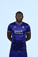 30th July 2020, Turbize, Belgium;   Edo Kayembe midfielder of Anderlecht pictured during the team photo shoot of RSC Anderlecht prior the Jupiler Pro league football season 2020 - 2021 at Tubize training Grounds.