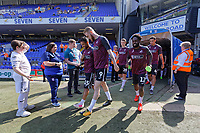 Wayne Routledge and Oli McBurnie of Swansea City exit the tunnel to warm up prior to the Sky Bet Championship match between Ipswich Town an Swansea City at Portman Road Stadium, Ipswich, England, UK. Monday 22 April 2019