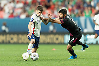 DENVER, CO - JUNE 6: Christian Pulisic #10 moves with the ball during a game between Mexico and USMNT at Mile High on June 6, 2021 in Denver, Colorado.