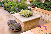 Beautiful stone patio with wall garden benches, containers of herbs thymes Thymus & Lavender Lavandula stoechas, flower plantings of Irises, Astrantia, salvia, roses Rosa, fennel, boxwood Buxus, Euphorbia, for pretty backyard landscaping