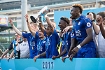 Leicester City (in blue) are the winners of the Main Tournament Cup Final, while Aston Villa (in purple) are the runner-ups, during the HKFC Citi Soccer Sevens 2017 on 28 May 2017 at the Hong Kong Football Club, Hong Kong, China. Photo by Chris Wong / Power Sport Images