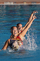 STANFORD, CA - FEBRUARY 7:  Debbie Chen (left) and Erin Bell (right) of the Stanford Cardinal during Stanford's 88-78 win against the Incarnate Word Cardinals on February 7, 2009 at Avery Aquatic Center in Stanford, California.