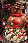 Belgium, West-Flanders, Bruges: Chocolate snowmen in Chocolate shop window