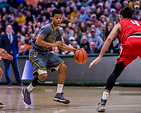 18 February 2018: University of Vermont Guard Trae Bell-Haynes, a Senior from Toronto, Ontario, in action against the Hartford Hawks at Patrick Gymnasium in Burlington, Vermont. The Catamounts fell to the Hawks 69-68 in their America East Conference matchup. Mandatory Credit: Ed Wolfstein Photo *** RAW (NEF) Image File Available ***