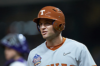 DJ Petrinsky (6) of the Texas Longhorns returns to the dugout after hitting a home run against the LSU Tigers in game three of the 2020 Shriners Hospitals for Children College Classic at Minute Maid Park on February 28, 2020 in Houston, Texas. The Tigers defeated the Longhorns 4-3. (Brian Westerholt/Four Seam Images)