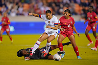 HOUSTON, TX - JANUARY 31: Lynn Williams #13 of the United States battles with Hilary Jaen #4 of Panama for the ball during a game between Panama and USWNT at BBVA Stadium on January 31, 2020 in Houston, Texas.