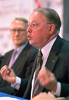 June 6 , 2002, Montreal, Quebec, Canada<br /> <br /> Gerald Tremblay, Montreal Mayor (L) look at<br /> Bernard Landry, Quebec Premier (R)<br /> giving  the closing speech of the Montreal Summit<br />  (Le Sommet de MontrÈal), June 6, 2002<br /> <br /> <br />  <br /> Mandatory Credit: Photo by Pierre Roussel- Images Distribution. (©) Copyright 2002 by Pierre Roussel