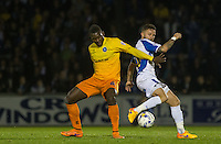 Matty Taylor of Bristol Rovers and Aaron Pierre of Wycombe Wanderers battle for the ball during the Johnstone's Paint Trophy match between Bristol Rovers and Wycombe Wanderers at the Memorial Stadium, Bristol, England on 6 October 2015. Photo by Andy Rowland.