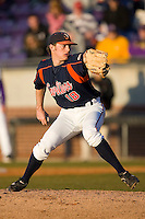 Relief pitcher Tyler Wilson #18 of the Virginia Cavaliers in action versus the East Carolina Pirates at Clark-LeClair Stadium on February 19, 2010 in Greenville, North Carolina.   Photo by Brian Westerholt / Four Seam Images
