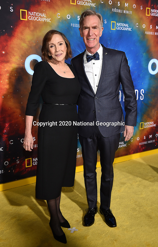 """LOS ANGELES - FEBRUARY 26: Ann Druyan and Bill Nye attend National Geographic's 2020 Los Angeles premiere of """"Cosmos: Possible Worlds"""" at Royce Hall on February 26, 2020 in Los Angeles, California. Cosmos: Possible Worlds premieres Monday, March 9 at 8/7c on National Geographic. (Photo by Frank Micelotta/National Geographic/PictureGroup)"""
