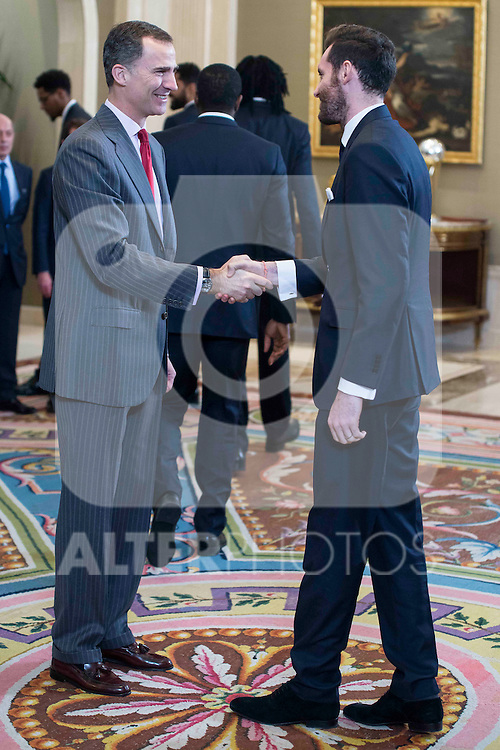 King Felipe VI of Spain and Rudy Fernandez during  audience to the champion  of the 80th edition of the cup of your R.M. The King, Real Madrid Basketball at Zarzuela Palace in Madrid. February 25, 2016 (ALTERPHOTOS/BorjaB.Hojas)