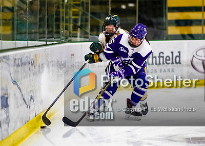 2 February 2020: Holy CrossCrusader Forward Katie MacCuaig, a Junior from Massena, NY, in first period action against the University of Vermont Catamounts at Gutterson Fieldhouse in Burlington, Vermont. The Lady Cats rallied in the 3rd period to tie the Crusaders 2-2 in NCAA Women's Hockey East play. Mandatory Credit: Ed Wolfstein Photo *** RAW (NEF) Image File Available ***