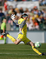 Goalkeeper Jenni Branam (23) of Sky Blue FC. The Los Angeles Sol defeated Sky Blue FC 2-0 during a Women's Professional Soccer match at TD Bank Ballpark in Bridgewater, NJ, on April 5, 2009. Photo by Howard C. Smith/isiphotos.com