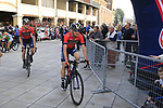 Bahrian-Merida team arrive at sign on before the start of the 99th edition of Milan-Turin 2018, running 200km from Magenta Milan to Superga Basilica Turin, Italy. 10th October 2018.<br /> Picture: Eoin Clarke | Cyclefile<br /> <br /> <br /> All photos usage must carry mandatory copyright credit (© Cyclefile | Eoin Clarke)