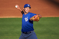 Dunedin Blue Jays starting pitcher Tom Robson (35) delivers a pitch during a game against the Clearwater Threshers on April 8, 2016 at Bright House Field in Clearwater, Florida.  Dunedin defeated Clearwater 8-3.  (Mike Janes/Four Seam Images)