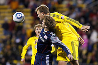 8 MAY 2010:  New England Revolutions' Zach Schilawski (15) and Chad Marshall of the Columbus Crew (14) during MLS soccer game between New England Revolution vs Columbus Crew at Crew Stadium in Columbus, Ohio on May 8, 2010. The Columbus defeated New England 3-2.