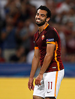 Calcio, Champions League, Gruppo E: Roma vs Barcellona. Roma, stadio Olimpico, 16 settembre 2015.<br /> Roma's Mohamed Salah reacts during a Champions League, Group E football match between Roma and FC Barcelona, at Rome's Olympic stadium, 16 September 2015.<br /> UPDATE IMAGES PRESS/Riccardo De Luca<br /> <br /> *** ITALY AND GERMANY OUT ***
